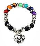 Mehrunnisa 7 Chakra Healing Gemstones Bracelet with Heart...