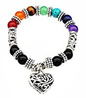 Stylish elegant 7 chakra gemstone bracelet with heart charm. It has a smooth finish and is flexible for comfortable wear. Wearing this gives you amazing power and strength. Best for healing chakra balancing, positive energy, meditation and so...