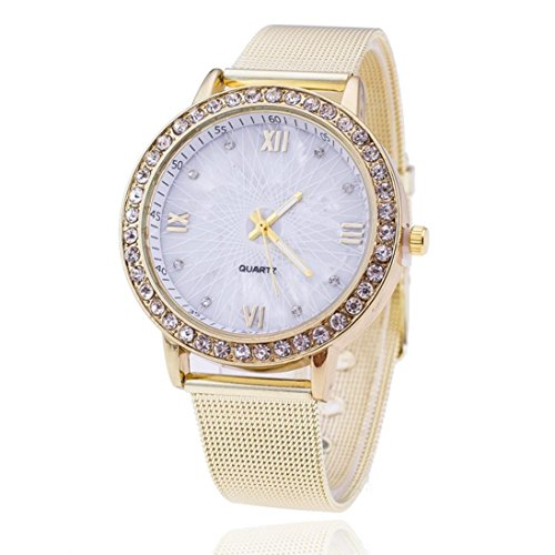 Valentinstag Uhren Dellin Frauen-Diamant-analoge Edelstahl-Quarz-Armbanduhr-Uhren (Weiß)