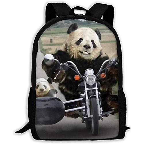 Borse a tracolla unisex,zaino casual,zaino regolabile,zaino grande Panda carino in sella a una borsa da scuola per adulti per bambini in moto,dayback all'aperto,borsa per laptop,borsa da viaggio Oxfor