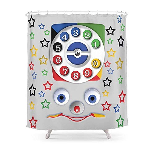 Suminla-Home Badezimmer Retro Vintage Smiley Kinder Spielzeug-Telefon iPhone 44S 55S 5C, iPod, iPad Kissen Fall und Tshirt Duschvorhang 182,9cm von 182,9cm -