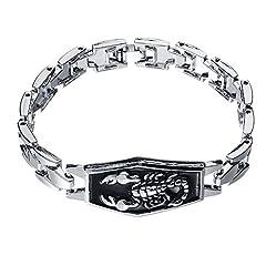 Idea Regalo - ODETOJOY segno zodiacale Scorpione bracciale da uomo in acciaio INOX catena tennis bracciali bracciali rigidi fascino