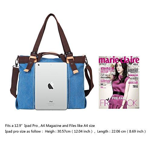 EGOGO Donna Borsa a tracolla in tela Borse a spalla Tote Sacchetto di Borse a mano Borsa da shopper E523-6 (Rosso) Blu