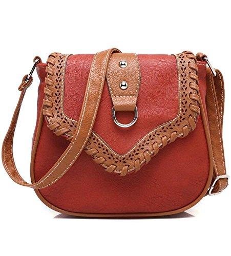 Mkxi® Ladies Small Handbag Pu Borsa In Pelle Vintage Crossbody Tracolla Tracolla Borse A Tracolla Rosso