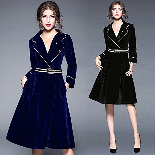 BBH.LEE Herbst und Winter Frauen-V-Kragen mit langen Ärmeln - eine Taille - grossen Pendel Kleid, Schwarz, L (Hahnentritt-kragen)
