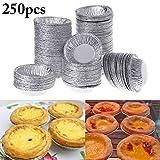 JUSTDOLIFE 250PCS Coppa di Torta All'Uovo Lega di Alluminio USA E Getta Tortino per Muffin per Cottura