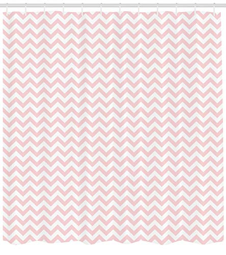 ABAKUHAUS Rose Duschvorhang, Zickzack-Chevron-Muster, mit 12 Ringe Set Wasserdicht Stielvoll Modern Farbfest und Schimmel Resistent, 175x200 cm, Weiß und Puder Rosa (Rosa Duschvorhang Set)