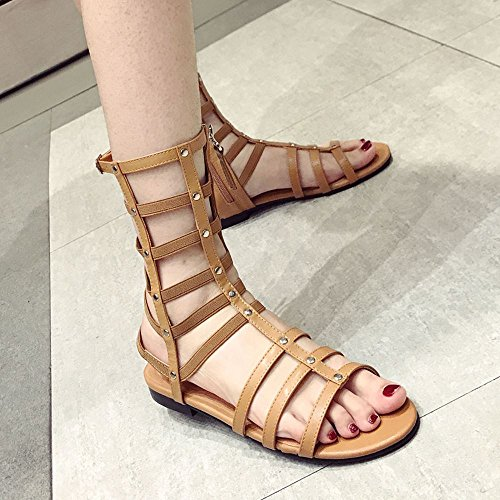 d Heeled Toe Sandalen Lady Sexy Bequeme Flache Sandalen, 38 EU, Dunkelbraun (Womens Dark Lady Kostüme)