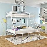 Keinode Etagenbett aus Metall, 90 cm, Einzelbett, 140 cm, Doppelbett für 3 Personen, modernes Schlafzimmer für Jugendliche, Kinder, Jugendliche, Erwachsene weiß