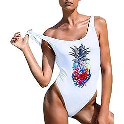 Cinnamou Traje de baño de una Sola Pieza Estampado piña, Mujer de una Pieza Tankinis Bikinis brasileños Mujer Traje de baño una Pieza Atractivo