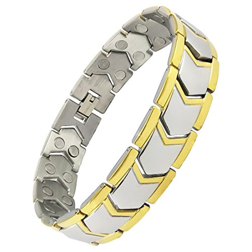 Magnaz Yellow Golden Titanium Plated Bio Magnetic Therapy Bracelet for men and women  available at amazon for Rs.1180