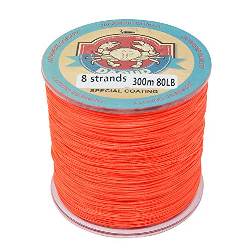 Gainning Daoud Superpower Angelschnur, Geflochten, 8 Stränge, 300 m, Orange, 20lbs-0.18mm-9.1kg