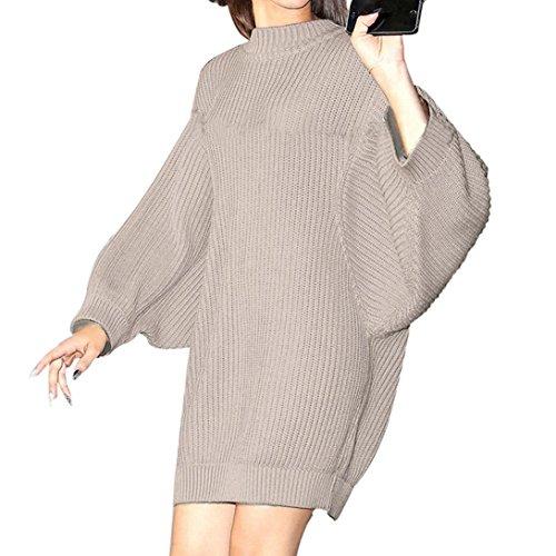 Kanpola Damen Pullover Winter Warm Stricken Pullover Langarm Casual Elegant (XL, Rosa) (Koch Tunika Pullover)