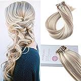 Moresoo 22 Zoll/55cm Remy Ombre Farben Echthaar Clip In Extensions Für Komplette Kopf #18 Aschblond to Bleach Blonde #613 Haarverlängerung Balayage Haarfarbe 7 Tressen 120g