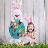 AerWo Numero Puzzle per bambini in età prescolare Giocattoli di apprendimento con le uova di Pasqua staccabili Feltro coniglietto di Pasqua Artigianato fai da te per le decorazioni di Pasqua