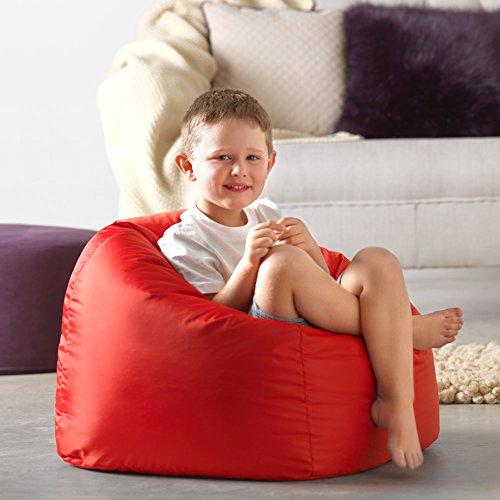 Bean Bag Bazaar Großer Sitzsack für Kinder rot–100% Wasserabweisend Indoor & Outdoor Riesen Kinder Bean Bag