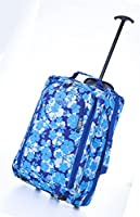 Frenzy® / Cities® Lightweight Hand Luggage Travel Holdall Baggage Wheely Suitcase Cabin Approved Bag Ryanair Easyjet And Many More - 1.6k - 40 Litres - PADLOCK INCLUDED (Blue 285)