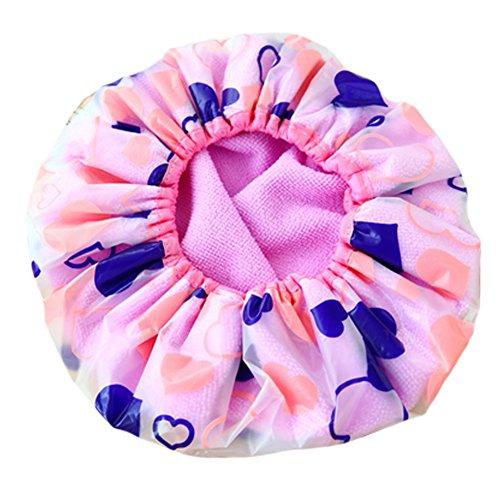 Réutilisable Bonnet de douche imperméable à l'eau Spa bonnet de bain, Violet