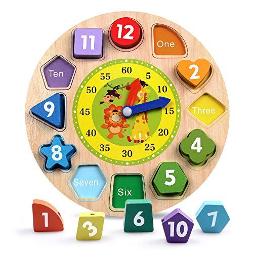 Reastar Lernuhr Uhr-Spielzeug aus Holz Lernspiel aus Holz Kinderspielzeug Lernuhr Montessori Spielzeug mit Seil, Zahl und Tier Muster - Pädagogisches Lernen Spielzeug für Kinder ab 3 Jahren -