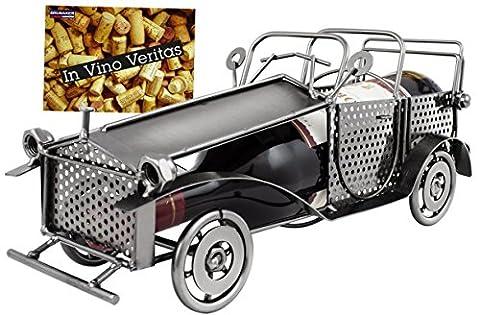 Brubaker Porte-bouteille de vin vintage voiture oldtimer Bouteille de vin Support Objet décoratif Métal avec carte de vœux pour