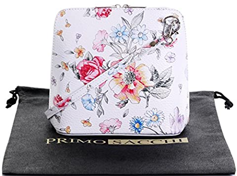 Genuine Italian Leather, White Floral Flower Small/Micro Cross Body Bag or Shoulder Bag Handbag. Includes a Protective Dust Bag