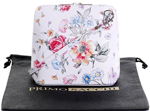 In pelle italiana, Small/Micro croce corpo borsa o borsetta borsa a tracolla.Include una custodia protettiva di marca. Floreale bianco