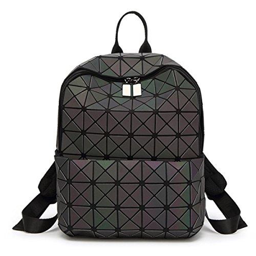 Damen Leuchtendes Paket Der Art Und Weise Geometrischer Mosaikrucksack Ling-Gitter Japanerart Rucksack Einkaufenzeitpaket LuminousMedium