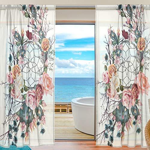 ISAOA Boho con atrapasueños y flores de rosas, 2 cortinas de tul, cortinas transparentes para ventana, cortinas de gasa para puerta de dormitorio, sala de estar, decoración del hogar, 139,7 x 213,4 cm