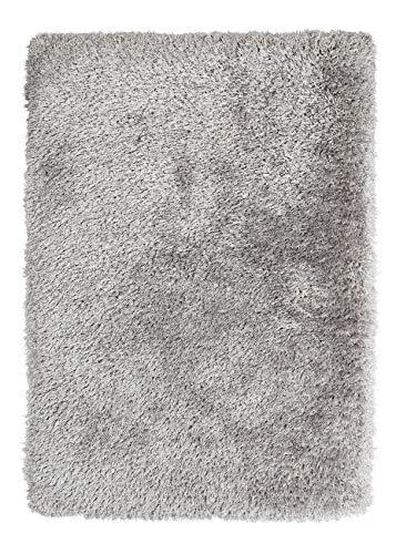 Shag Teppich Acryl (Think Rugs handgetufteter, schwerer Hochflor-Teppich »Montana«, silber, 60 x 120 cm)