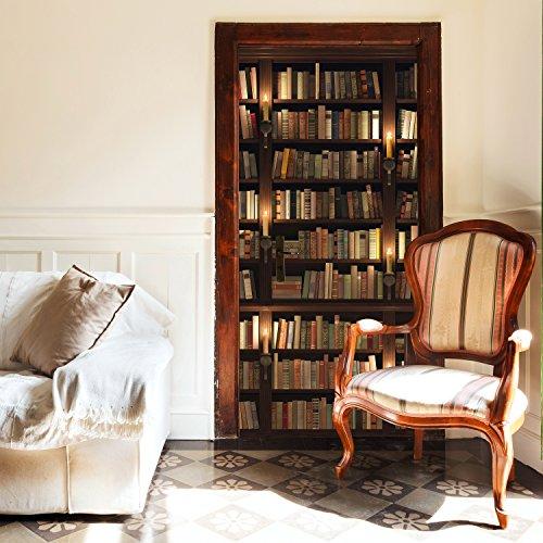 Türtapete Bücherregal 86 X 200 Cm Alte Bücher Bibliothek Regal Bücherei  Antik Kerzen Rustikal Tapete Fototapete