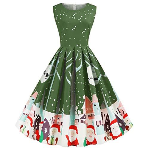 Abiti di Natale per Le Donne - Donna Vintage Senza Maniche Abito Donna Pleated Evening Party Abito con Cintura(Verde,S)