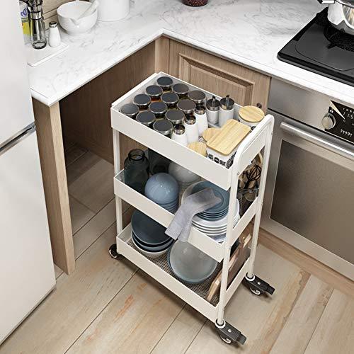 WILL Multifunktionsküchen-Lagerregal mit Rädern, Flexibler, weißer Haushaltsmetalllaufkatze, Rollen, verwendbar für Badezimmer, Schlafzimmer, Esszimmer, Hotel, Wohnzimmer -