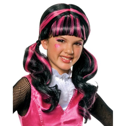 NEU Perücke Draculaura für Kinder, schwarz-pink - Draculaura Perücke