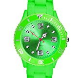 Taffstyle Farbige Sportuhr Armbanduhr Silikon Sport Watch Damen Herren Kinder Analog Quarz Uhr 34mm Grün