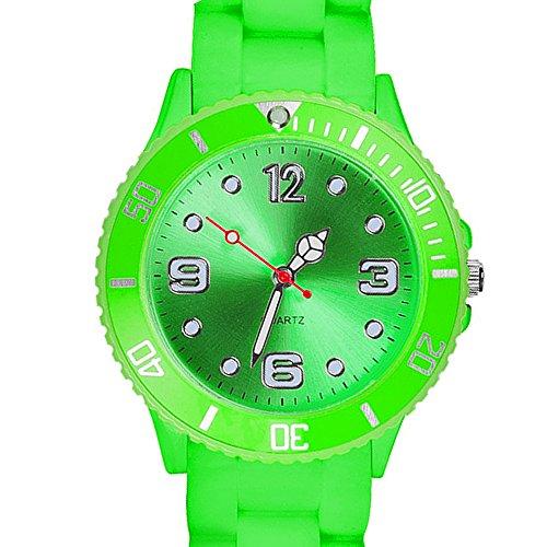Taffstyle Farbige Sportuhr Armbanduhr Silikon Sport Watch Damen Herren Kinder Analog Quarz Uhr 39mm Grün