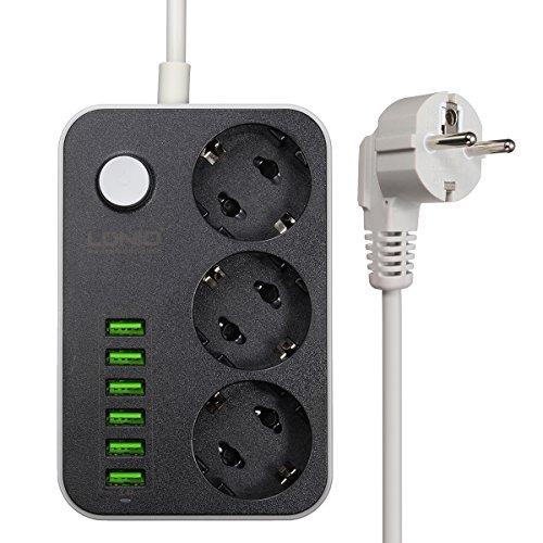 Steckdosenleiste Steckdosen USB 3.4a, M. 3Way 1.6Meter mit 6USB, Steckdose und Schalter, 2500W 5V Steckdosenleiste mit Überspannungsschutz für Smartphones, Handys, Tablets, Kameras und andere Geräte