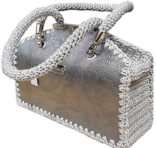 Damen Handtasche Silberne Tasche aus geprägtem Leder Umhängetasche mit Muster Exklusive Designer Graue Arzt Tasche mit Ösen Vegan Leder - Silberne Designer-handtasche