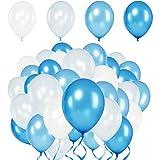 Premium Luftballons – Heliumluftballons  mit Metallic Glanzeffekt - 50 Stück - 4 leuchtende Farben - Weiß, Babyblau, Blau, Royalblau - XL Größe 30cm - Metallic Luftballons dienen als hochwertige Deko für Hochzeit, Geburtstag, Taufe, Party usw. - Premium Qualität  100% Natur Latex - 3,6g - extra reißfest - mit Luft oder Helium füllbar - Hergestellt in der EU - von Loveballoons