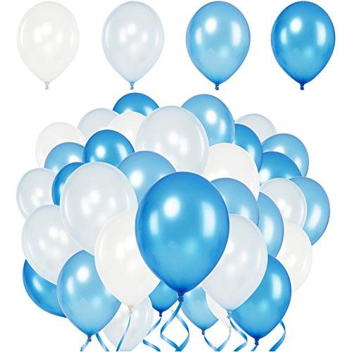 Premium Luftballons - Heliumluftballons Metallic • 50 Stück • 4 Farben • Weiß, Babyblau, Blau, Royalblau • XL Größe, Metallic Luftballons dienen als Deko für Hochzeit, Geburtstag • extra reißfest
