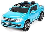 Actionbikes Motors Kinder Elektroauto Volkswagen Amarok SUV Kinderauto Elektrofahrzeug Elektro VW 2 Personen Eva Reifen 2x35 Watt Motor (Blau)