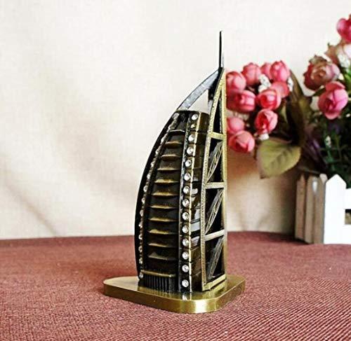 THREE Berühmte Gebäude Modell Vintage Dekoration Bronze World Tourist Souvenir Modell Leuchtturm Venus, Burj Al Arab