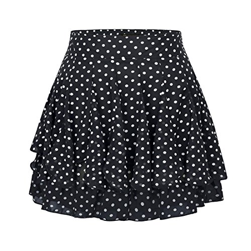 Wincolor Damen A-linie Geblümt Polka Dots Rüschen Sommer Chiffon Rock (Knee-length Flare Skirt)