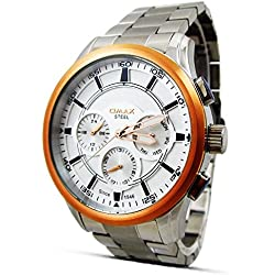 New Omax Mens Wrist Watch Silver Stainless Steel Strap Chronograph Day Hour & Date Analog Quartz