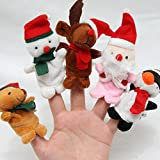#4: Fancyku 5pcs Christmas Finger Puppet Dolls Kids Children Soft Cartoon Series Doll Plush Toys Finger Puppet Set