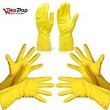 #10: Rubber Hand Gloves Reusable Washing Cleaning Kitchen Garden (3 Pairs) (color may vary)
