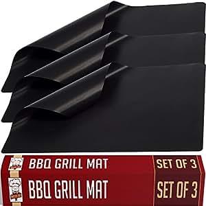 Set di 3 Tappetini Griglia Antiaderenti per BBQ - Grill Mats 40x33cm