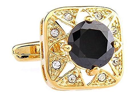 SAMGU Zircon Cufflinks for Men&Women Cuff Buttons Shirt Cuff Links Jewelry Color Gold&black