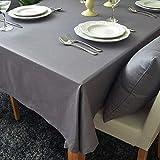 DKEyinx Volltonfarbe Tischdecke Baumwolle Leinen Rechteck Tischdecke waschbar Schreibtisch Abdeckung, Baumwollleinen Grey 140 * 180cm