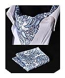 Hisdern Herren-Krawattenschal, Ascot-Set mit floralem Jacquard-Muster, gewebt Gr. Einheitsgröße, Blau / Grau