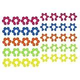COM-FOUR® 40x Glasmarkierer im Blumen-Design, Glasmarker in tollen Farben z.B. für Weingläser, Sektgläser oder Cocktailgläser, Ø 2,5cm